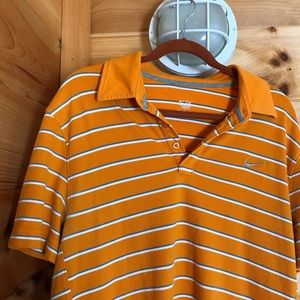 ORANGE STRIPED NIKE EMBROIDERED COLLARED  POLO TOP